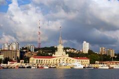 Gare marine de Sotchi, la façade centrale photos libres de droits