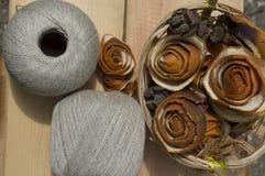 Garen voor het breien in ballen Royalty-vrije Stock Foto's