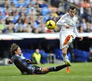 Gareth Bale of Real Madrid kicks the ball in goal attempt Stock Images