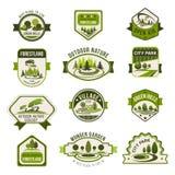 Garez, jardin vert de ville, eco aménageant l'ensemble en parc d'insigne illustration de vecteur