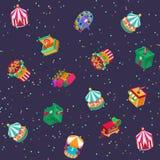 Garez l'illustration extérieure attrayante de vecteur de construction de divertissement d'enfants isométriques de carrousels d'at illustration de vecteur