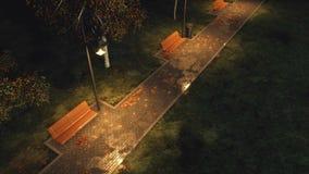 Garez le passage couvert allumé par des réverbères la nuit automne illustration libre de droits