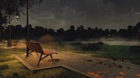 Garez le passage couvert avec des bancs la nuit pluvieux automne illustration libre de droits