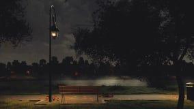 Garez le passage couvert sur l'au bord du lac la nuit foncé automne illustration stock