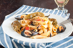 Garganelli , typical Italian pasta of the Veneto , with mussels Stock Images