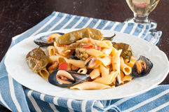 Garganelli , typical Italian pasta of the Veneto , with mussels Stock Photos