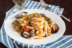 Garganelli , typical Italian pasta of the Veneto , with mussels Stock Image