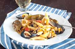 Garganelli , typical Italian pasta of the Veneto , with mussels Stock Photography