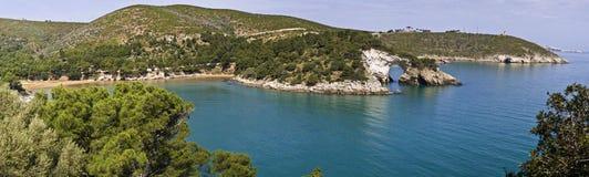 Gargano havsklippa, Puglia, båge av san felice Arkivfoton