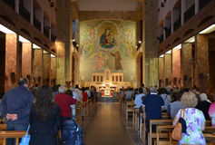 GARGANO - SEPTEMBER 15: Inre av Santuario Santa Maria delle Grazie. September 15, 2013 Royaltyfria Bilder