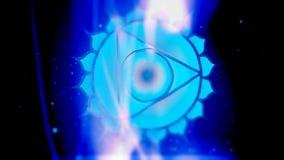 Garganta Chakra Vishuddha Mandala Spins no campo azul da energia ilustração stock
