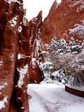 Garganta da rocha do vermelho de Pict 5096 e trajeto gelado Fotografia de Stock Royalty Free