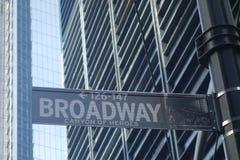 Garganta de Broadway dos heróis Fotografia de Stock