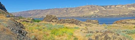 Garganta de Columbia - generadores de viento - panorama Fotografía de archivo libre de regalías