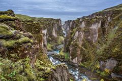 A garganta de Fjadrargljufur, Islândia Fotos de Stock Royalty Free