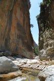 GARGANTA DE SAMARIA, CRETA: El paso más estrecho de Samaria Gorge fotos de archivo libres de regalías