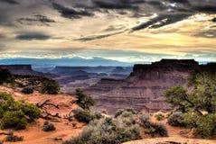 A garganta de Shafer negligencia no parque nacional de Canyonlands Fotos de Stock Royalty Free