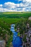 Garganta de Yellowstone River com nuvens Imagens de Stock Royalty Free