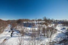 A garganta do inverno com neve Imagem de Stock Royalty Free