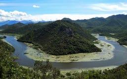 Garganta do rio Crnojevica, Rijeka Crnojevica, Montenegro, vista a?rea fotografia de stock