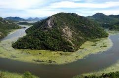 Garganta do rio Crnojevica, Rijeka Crnojevica, Montenegro, vista a?rea foto de stock royalty free