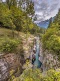 Garganta Eslovenia del río de Soca fotografía de archivo libre de regalías