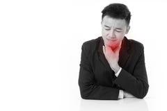 Garganta inflamada de sofrimento do homem de negócios doente Fotografia de Stock