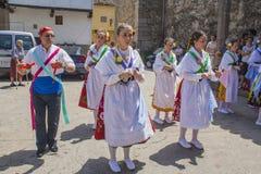 Garganta la Olla, Caceres, Extremadura, Spain, July 1, 2013, bal. Let dancers Las Italianas, desfilem walk through the village of Dance of Las Italinas, Also Stock Photos