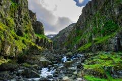 Garganta nos fiordes do leste de Islândia Foto de Stock