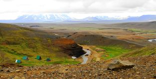 Garganta perto do resort de montanha de Kerlingarfjoll, Islândia fotos de stock