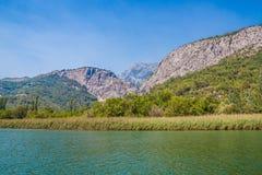 Garganta verde bonita do rio Cetina com rochas, pedras e reflexão em uma água, paisagem do verão, Omis Fotos de Stock