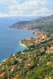 Gargnano village and garda lake from above Royalty Free Stock Image