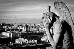 Gargouille au noire de Notre Dame de Paris de Cathedrale Images stock