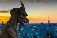 Gargouille die over Parijs staart Stock Fotografie