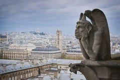 Gargouille op het dak van Notre Dame in Parijs, Frankrijk Stock Fotografie