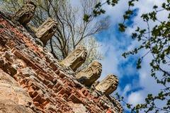 Gargouilles en muren van middeleeuws kasteel Pajstun dichtbij Bratislava Royalty-vrije Stock Foto's