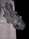 Gargoyle. On the side of a church at night in Strasbourg, French/German border. With clipping path stock photography