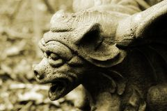 Gargoyle. In sepia stock photo