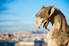 Gargoyle against blue sky and blurry city - Paris Stock Image