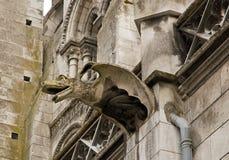 Gargoyle av den kyrkliga Sanktt Eusèben (Auxerre) Arkivfoton