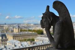 Gargoyle av Notre Dame de Paris Arkivbilder