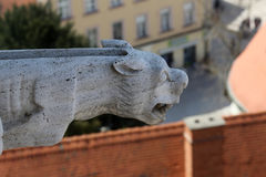 Gargoyle, detail on the facade of the Zagreb cathedral Stock Photo