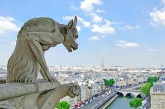 Gargoyle i Notre Dame, back för Eiffel torn. Paris Royaltyfri Bild