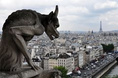 Gargoyle looking at Paris Stock Image