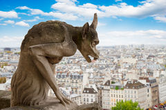 Gargoyle on Notre Dame Cathedral, France Royalty Free Stock Photos