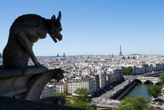 Gargoyle of Notre Dame de Paris. Gorgoyle of Notre Dame de Paris, look down from the roof of the cathedral Royalty Free Stock Image