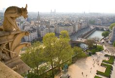 Gargoyle on the Notre-Dame de Paris Royalty Free Stock Images