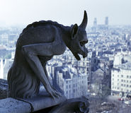 Gargoyle overlooking Paris. Close-up of Gargoyle overlooking Paris suburbs from Notre Dame cathedral stock images