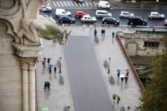 Gargoyle overlooking Paris Stock Photos