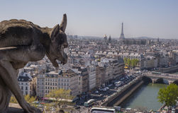Gargoyle Overlooking Paris Royalty Free Stock Images